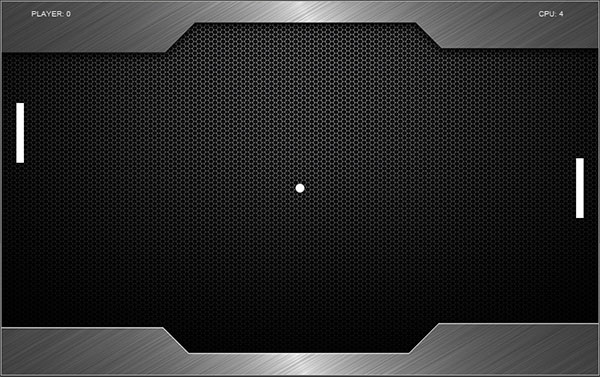 screenshot  videogioco pong sviluppato in html5 e javascript